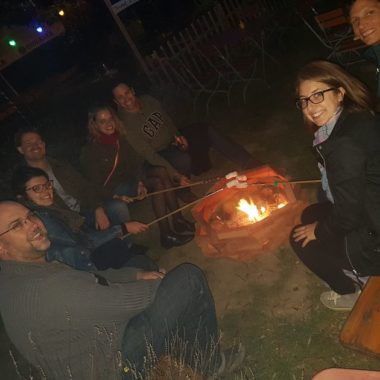 Chamalows au feu de bois au Biergarten