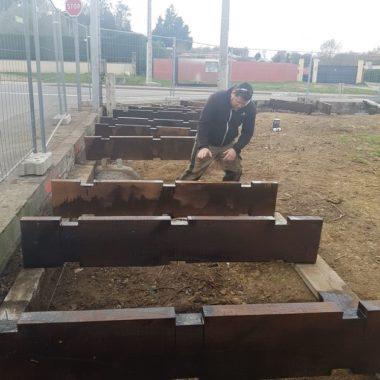 Construction mur anti son au Biergarten 2
