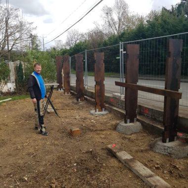 Construction mur anti son au Biergarten Damien