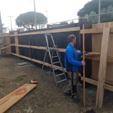 Construction mur anti son au Biergarten 5