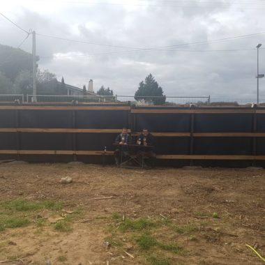 Construction mur anti son au Biergarten Apéro